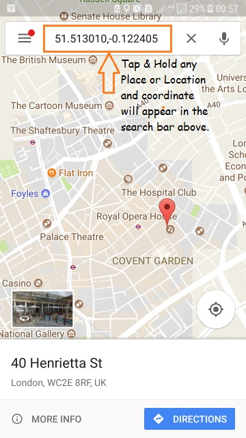 Get GPS Coordinate from Google Map - Android iPhone