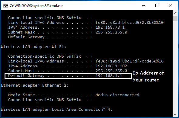 Ip Address of my Router