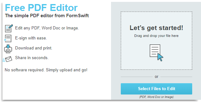 Formswift free online pdf editor