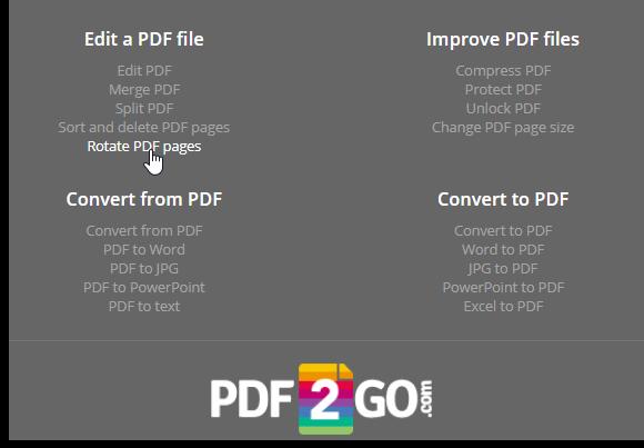 pdf2go onine pdf editor