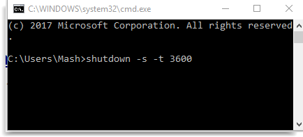 automatic Shutdown time in Windows 10 using CMD