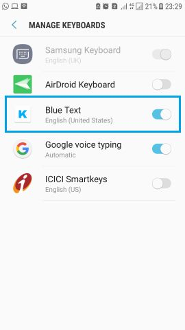 Blue Text KEyboard send WhatsApp Facebook message in blue colour