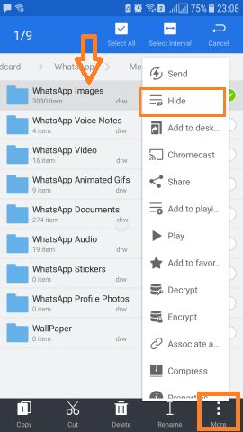 Hide WhatsApp Images Videos from Gallery ES File explorer