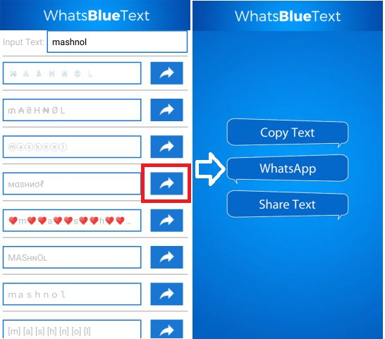 WhatsBlueText Send Colourful WhatsApp message on Stylish Font