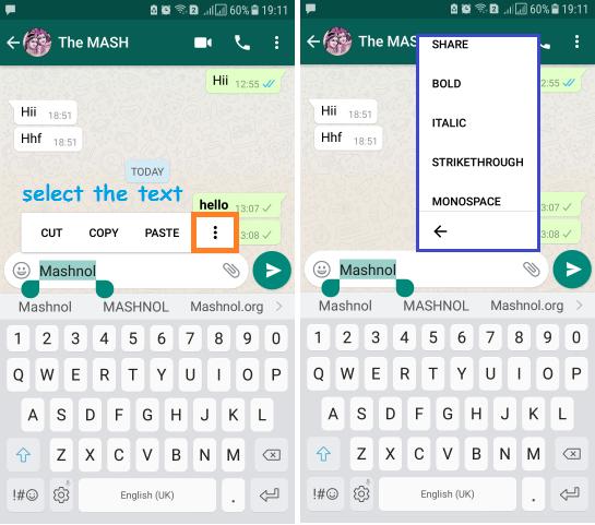 Whatsapp Message Formatting Bold Italic Strikethrough monospace