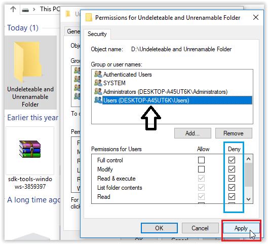 create or make undeletable and unrenamble folder deny permission in Windows 10 8 7