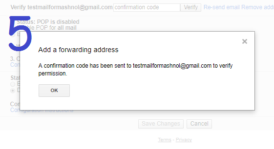 Do email forwarding in Gmail