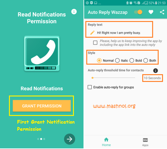 Autoreply Wazzap Sent Automatic reply to WhatsApp message
