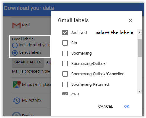 Google Takeout Dowload all Google Data in email Archive