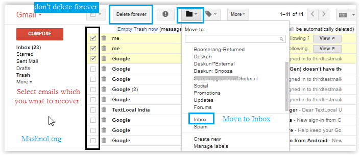 Recover deleted emails from Gmail (3)