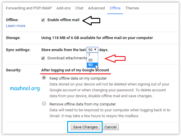 enable gmail offline mode and use Gmail without Internet