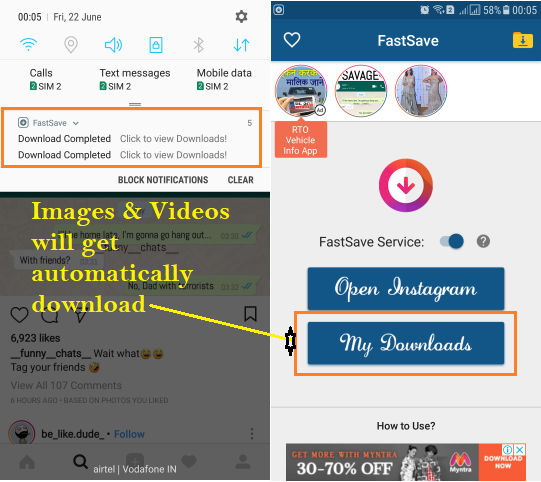 Download Instagram Photos and Videos on Android iPhone Device