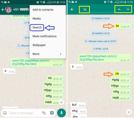 Search through WhatsApp Conversation Specific Contact or Group