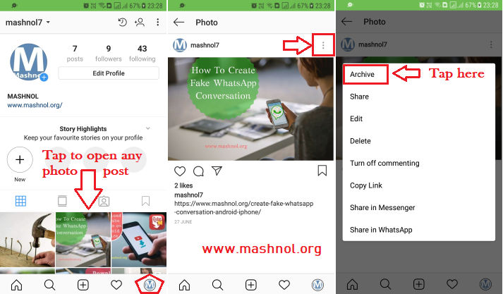 How to hide Instagram photos posts without deleting them