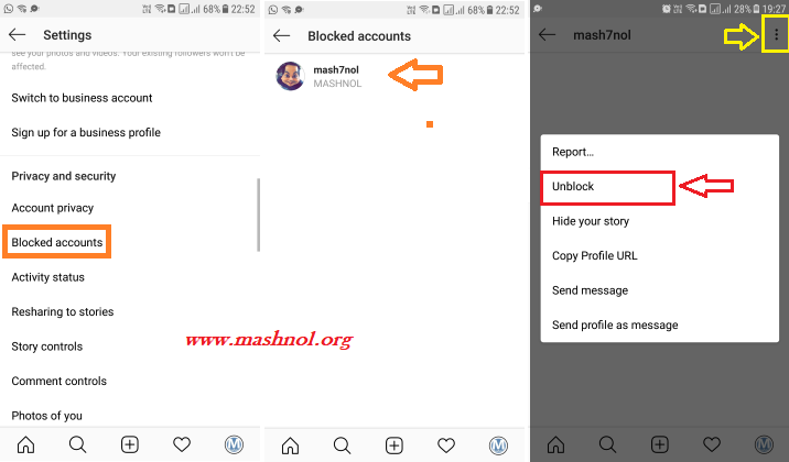 Unblock someone on Instagram through Blocked List in Instagram