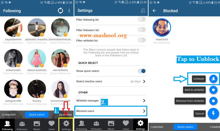 unblock someone on Instagram who has blocked you using cleaner for Instagram App