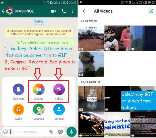 Convert Video into GIF Images on Whatsapp