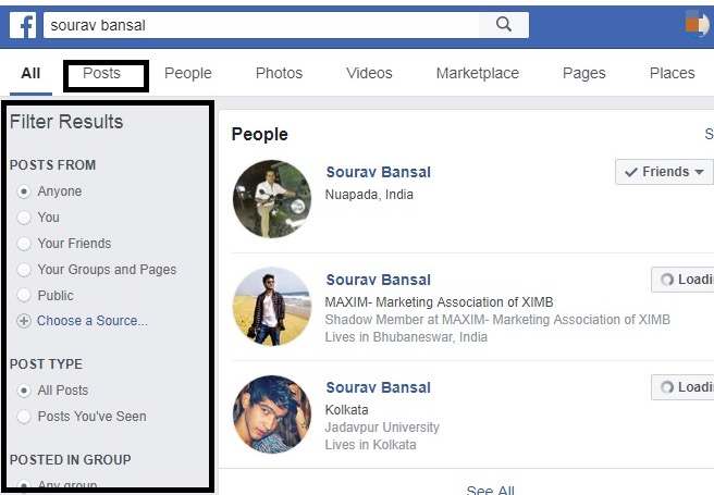 How to search Facebook posts