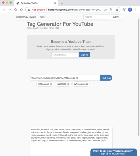 Tag Generator for Youtube Betterwaytoweb